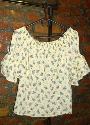 Блуза кофточка блуза с открытыми плечиками с цветочным принтом new look2 фото
