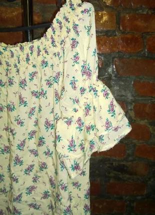 Блуза кофточка блуза с открытыми плечиками с цветочным принтом new look3 фото
