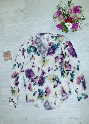 Стильная на запах блуза, туника, рубашка, цветочный принт