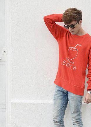 Красная кофта свитшот худи h&m