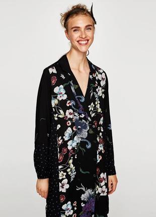Платье рубашка в цветочный принт zara zara