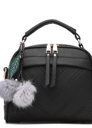 Стильная женская сумочка с двумя змейками