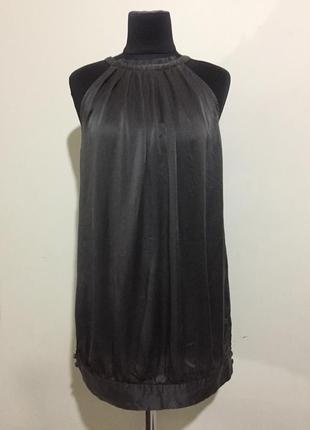 Шикарный шёлковый топ блуза, графитового цвета