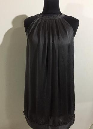 Шикарный шёлковый топ блуза, графитового цвета2 фото