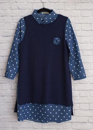 Джинсовое платье с трикотажной накидкой