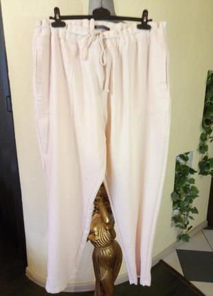 Пудровые,зауженные к низу,лен и викоза брюки большого размера,высокий рост