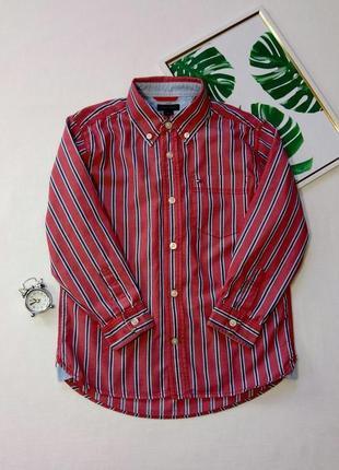 Стильная рубашка с принтом в полоску,  хлопковая рубашка