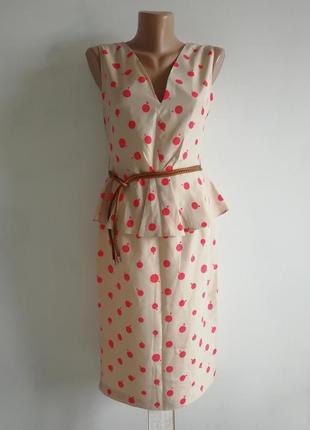 👑 платье миди в горошек 👑 платье с баской теплого карамельного оттенка 👑