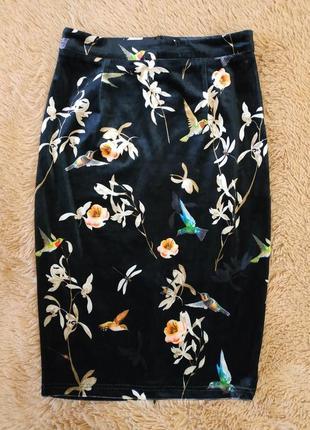 Шикарная бархатная юбка миди с принтом