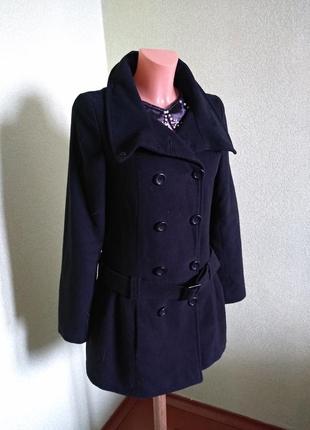Черное демисезонное пальто сзади бант/tammy/176 см рост/10 размер/