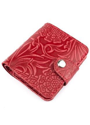 Женский кожаный кошелек софия (красный цветочек)