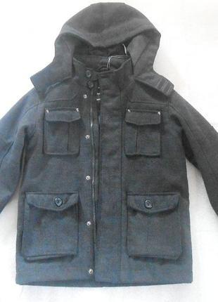 Красивое пальто с капюшоном / куртка на мальчика 7-8 лет (рост 128) от бренда debenhams