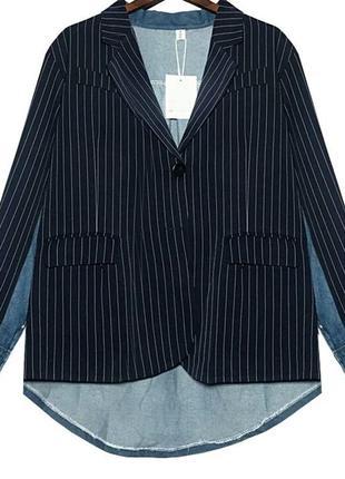 Кардиган пиджак комбинированный джинсовый+ пиджак размер l-xl оверсайз шик