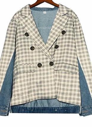 Пиджак комбинированный джинсовый стильный размер m-l