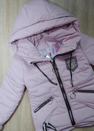 Польская фирменная курточка на синтепоне сезон весна-осень нежно розовая-пудра