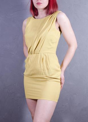Горчичное платье-тюльпан, платье без рукавов с воланом topshop
