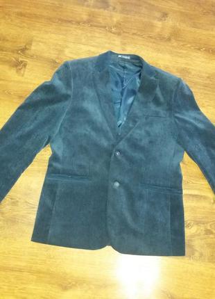 Темно-синий вельветовый пиджак с замшевой отделкой