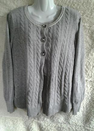 Кардиган светло-серый в косы весна-осень-зима l-xl elisabetta minelli