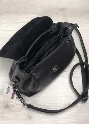 Маленькая черная сумка через плечо молодежная кроссбоди3 фото