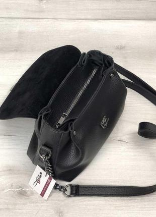 Маленькая черная сумка через плечо молодежная кроссбоди4 фото