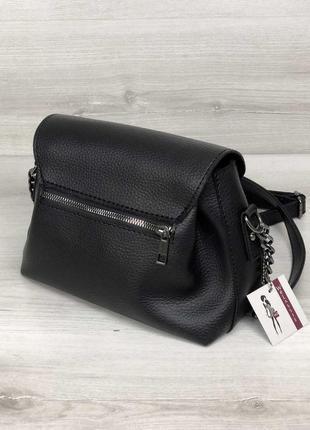 Маленькая черная сумка через плечо молодежная кроссбоди5 фото