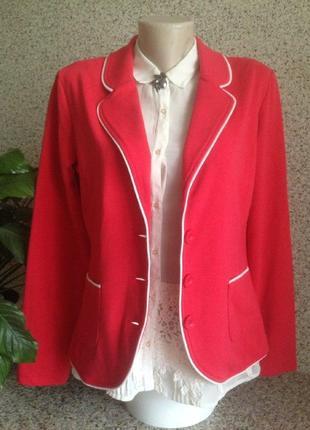 70e90274a6c Оригинальный красный трикотажный пиджак жакет блейзер gerry weber