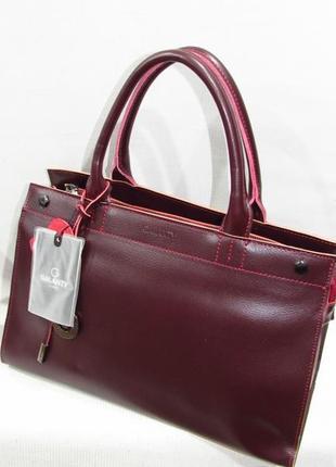 237353481d0a Бордовая качественная стильная сумка женская кожаная натуральная кожа  деловая большая