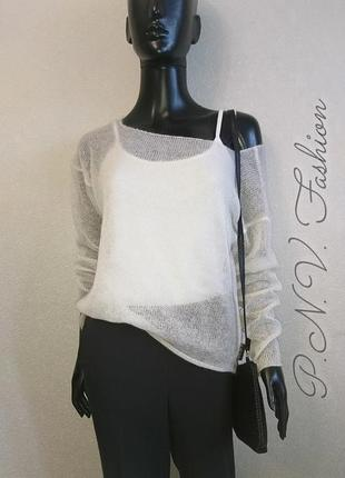 Белый свитер накидка из мохера7 фото