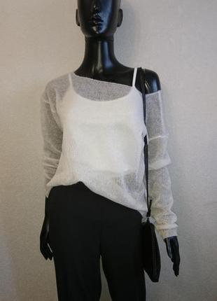 Белый свитер накидка из мохера8 фото