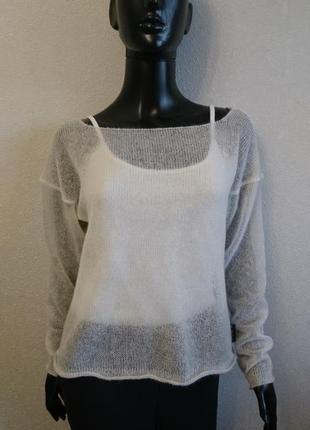Белый свитер накидка из мохера3 фото