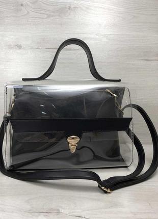 Прозрачная силиконовая сумка с косметичкой на ремешке черная молодежная