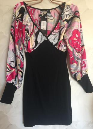 Яркое комбинированное платье, размер s, 44-46.