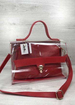 Красная силиконовая сумка прозрачная через плечо с косметичкой