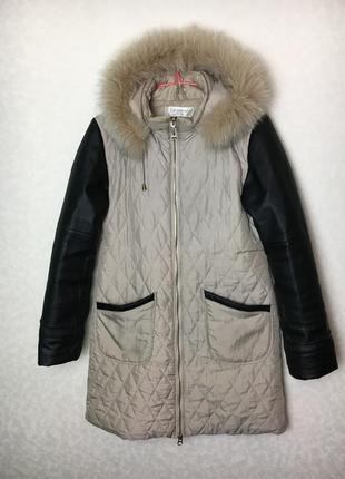 Пальто с кожаными рукавами, натуральная кожа!