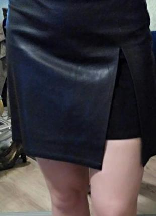 Суперовая кожаная юбка с замшей. обмен.