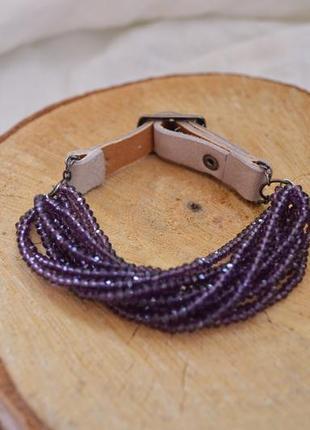 Браслет фиолетовый из чешского хрусталя ′хрустальные нити′