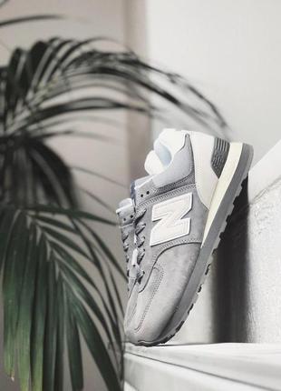 Шикарные женские кроссовки new balance 574 grey/white suede 😍 (весна/ лето/ осень)