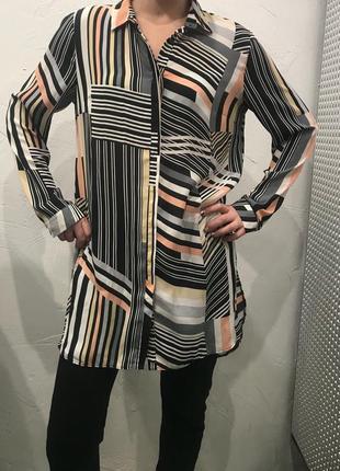 Удлинённая рубашка в полоску асимметричного кроя! сорочка, туника, рубаха, платье