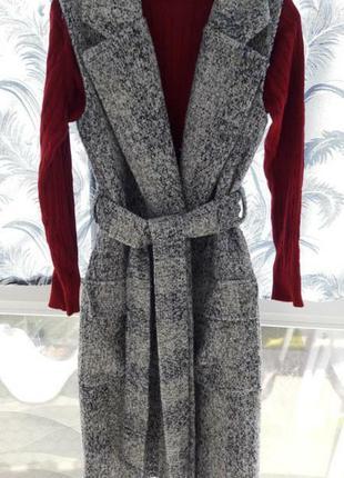 786b494d699 Стильное качественное пальто жилет шерсть букле твид