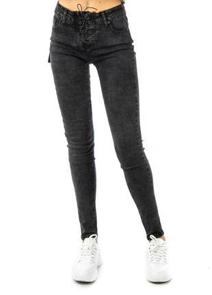 Серые джинсы варенки со шнуровкой , распродажа