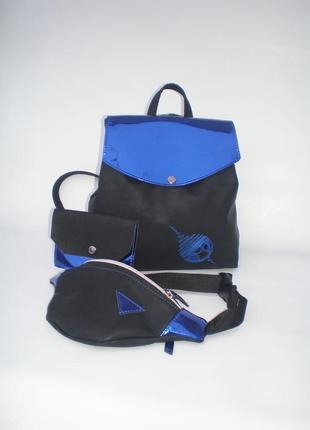 Комплект 3в1!!! рюкзак, поясная сумка (бананка) + кошелечек в подарок handmade