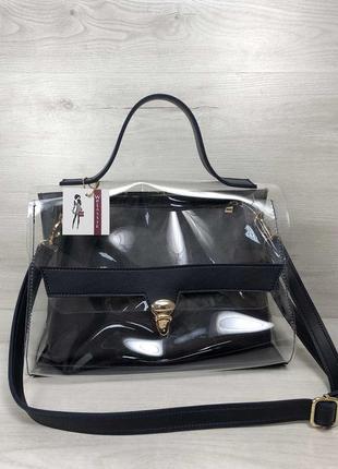 2в1 молодежная сумка эрика темно синего цвета с силиконом (прозрачная)