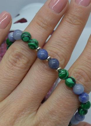 Эксклюзив! браслет #серебро, #опал, #малахит, 925, #унисекс, 18см все размеры