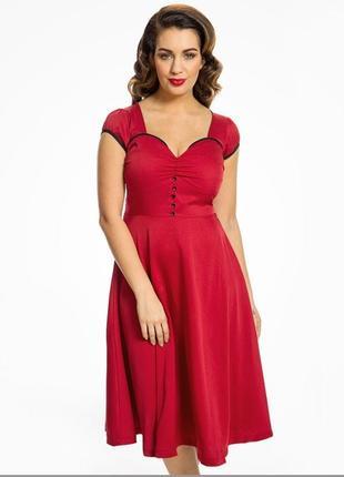 Красно бордовое платье миди в винтажном стиле lindy bop