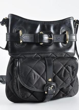 Burberry оригинал италия черная кожаная сумка кроссбоди через плечо