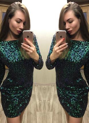 Платье пайетка хамелеон