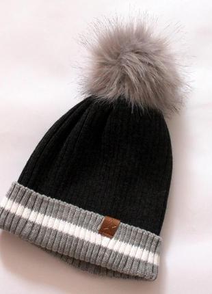 Шапка, женская шапка, шапка с бубоном