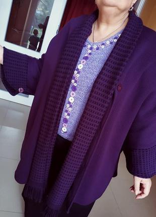 Пончо кардиган пальто вязаное пиджак жакет кардиган с шарфом батал весеннее демисезонное