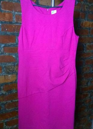 Платье чехол футляр из костюмного трикотажа большого размера оттенка фуксия
