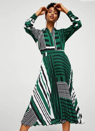 Комплект плиссированая юбка и рубашка с геометрическим принтом mango размер s-m